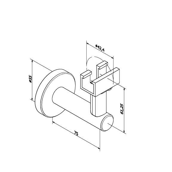 SUPPORT MURAL MAIN COURANTE LED Ø42.4 mm POUR ALIMENTATION ELECTRIQUE - INOX 316