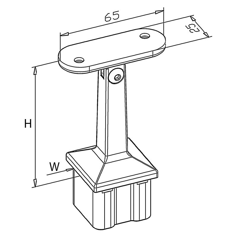 Support orientable carré main courante plate