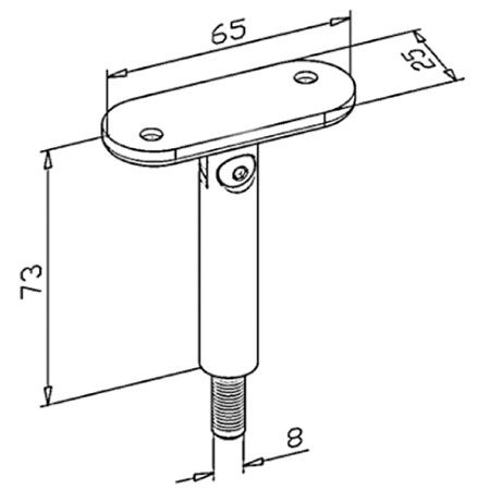 Support orientable main courante plate