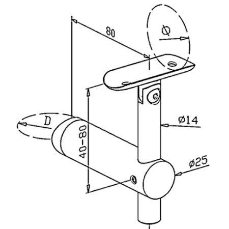 Support orientable main courante ronde poli miroir