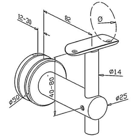 Support verre fixe main courante ronde poli miroir