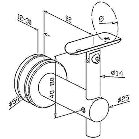 Support verre orientable main courante ronde poli miroir