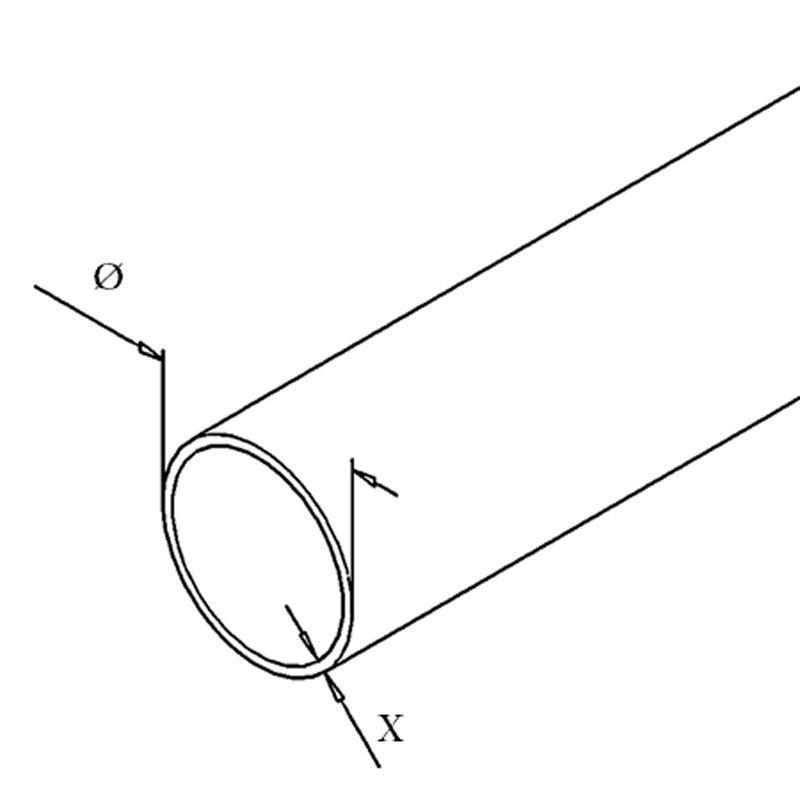 TUBE Ø42.4 x 2.6 mm - INOX 304 GR320 à la coupe