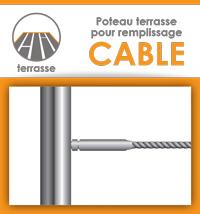 Poteau prémonté pour garde-corps à câble - Terrasse