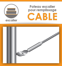 Poteau pour escalier (remplissage cable)