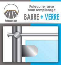 Poteau prémonté pour garde-corps barre et verre - Terrasse