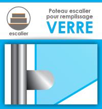 Poteau pour escalier (remplissage verre)