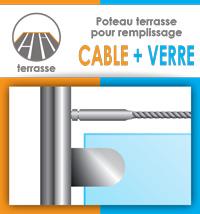 Poteau prémonté pour garde corps câble et verre - Terrasse