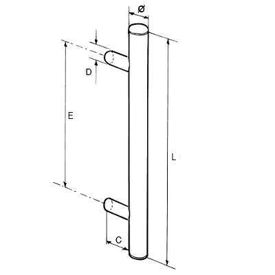 Paire de poignées bâton maréchal aluminium RAL à définir