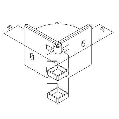 Platine de fixation d'angle modèle carré
