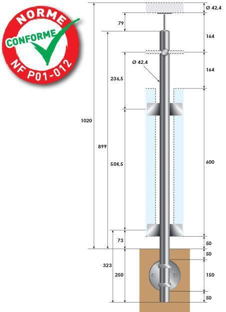 POTEAU PREMONTE - Ø42,4 x 2 mm - POUR 1 TIGE Ø12 mm + VERRE - FIXATION à L'ANGLAISE