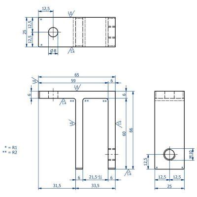 PINCE MURALE MODELE 31 - VERRE EP 16.76 mm à 19 mm - INOX 316