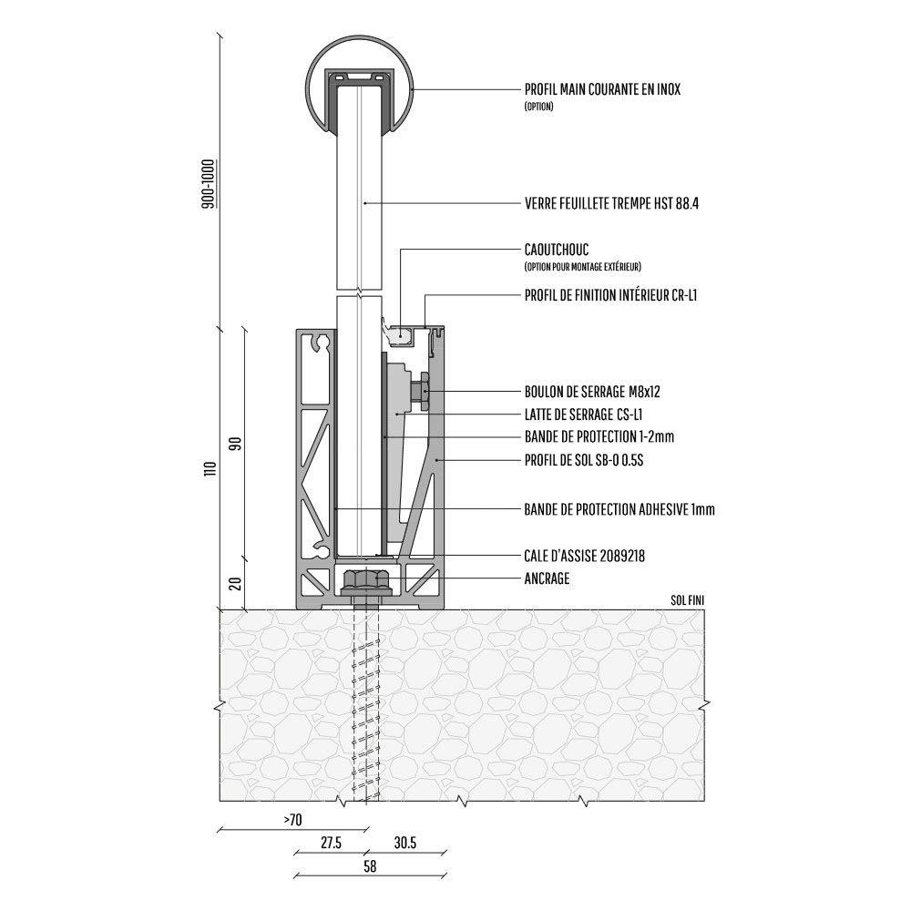 PLAN KIT PROFIL DE SOL SB-O 0,5S - LONGUEUR 4000 mm - ASPECT INOX