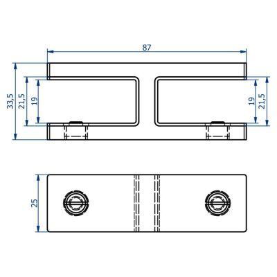 PLAN PINCE 180° MODELE 31 - VERRE EP 16.76mm à 19 mm - INOX 316