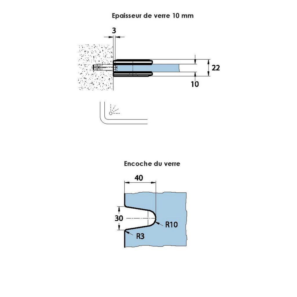 Adaptateur pour verre Ep. 8 - 10 mm