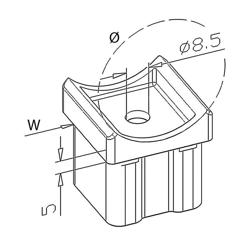 Adaptateur tube/tube carré