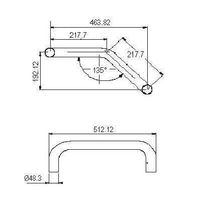 Arceau symétrique 135°