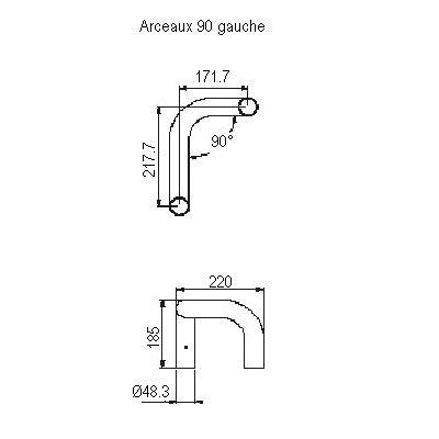 Arceaux asymétrique 90° gauche
