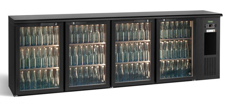 Arrière bar réfrigéré 4 portes vitrées 680 L