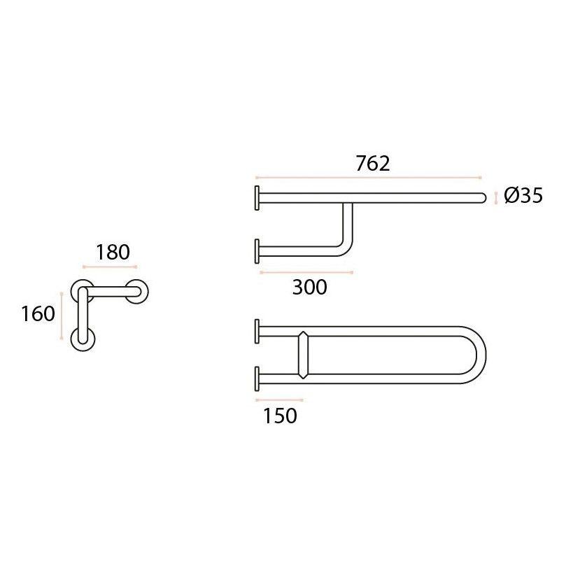 Barre de relevage fixe Ø35 mm  - Inox 304