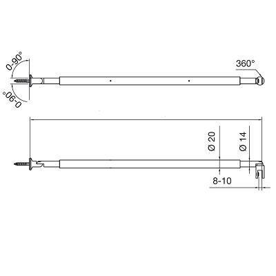 Barre stabilisatrice verre/mur