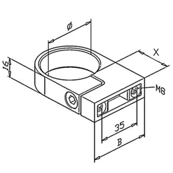 Bride de fixation pour tube Ø33,7- 42,4- 48,3 mm