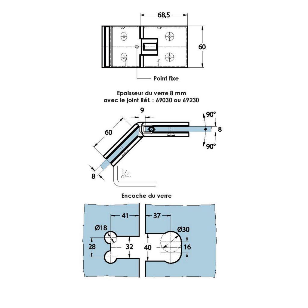 Charnière de douche verre/verre 135° - Ouverture double action, va-et-vient