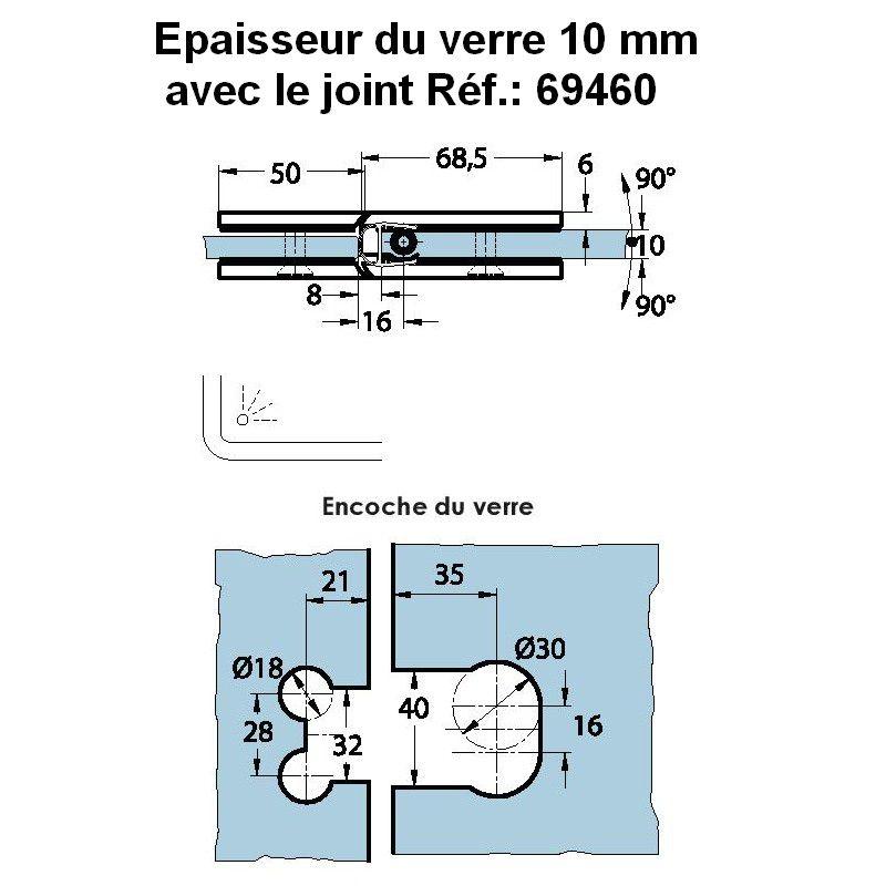 Charnière de douche verre/verre 180° - Ouverture double action, va-et-vient