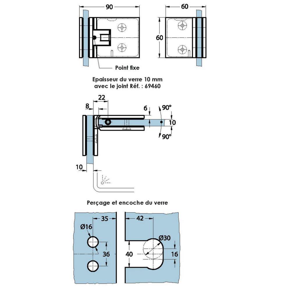 Charnière de douche verre/verre 90° - Ouverture double action, va-et-vient