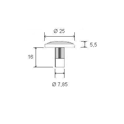 Clou podotactile strié - inox 304 passivé