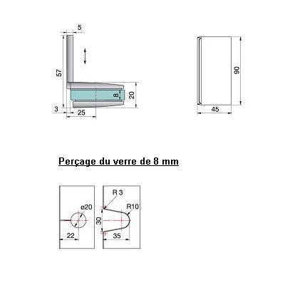 Connecteur d\'angle verre/mur 90°