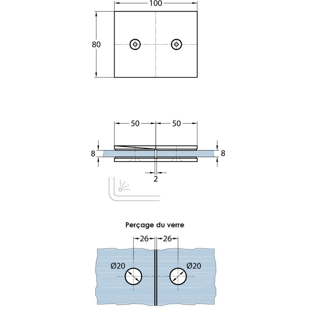 Connecteur verre/verre 180°
