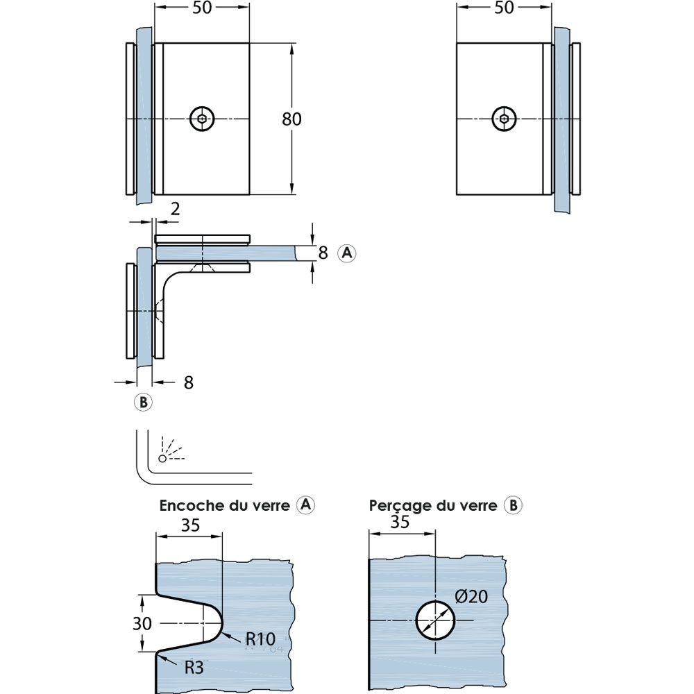 Connecteur verre/verre 90°