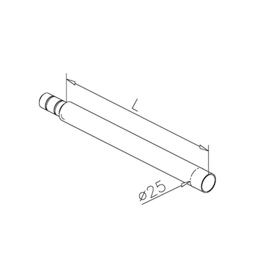 Console Ø25mm - L 250 mm pour étagère bois - aspect inox brossé