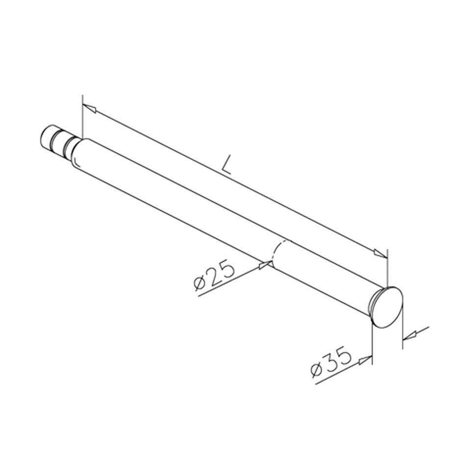 Console Ø25mm - L 350 mm pour étagère bois - aspect inox brossé