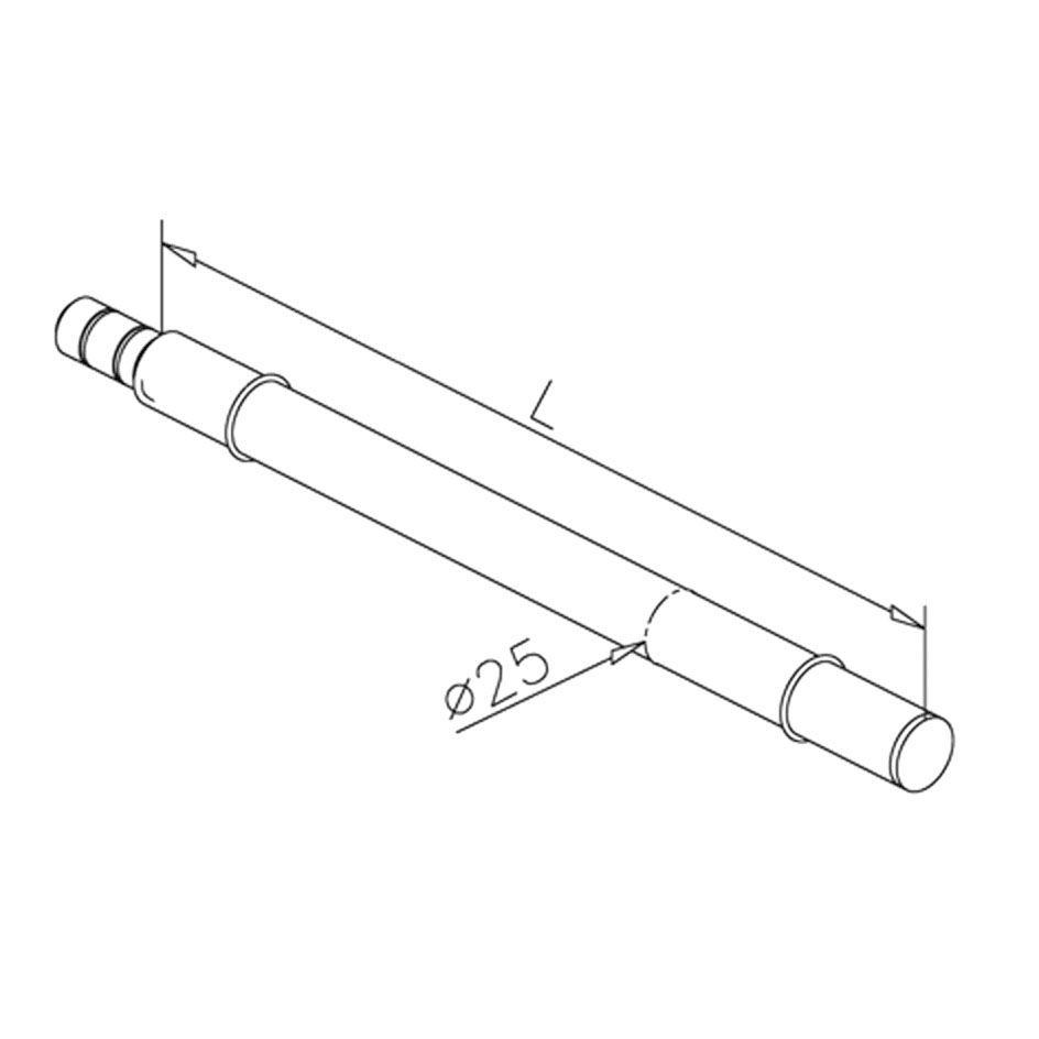 Console Ø25mm - L 350 mm pour étagère verre - aspect inox brossé