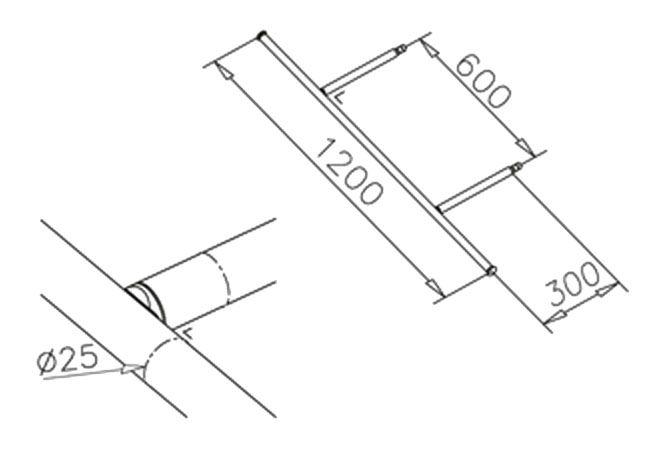 Console transversale - Ø25mm - L 1200 mm - aspect inox brossé