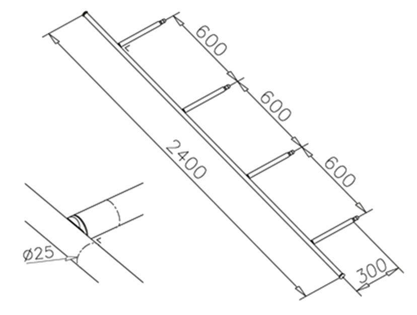 Console transversale - Ø25mm - L 2400 mm - aspect inox brossé