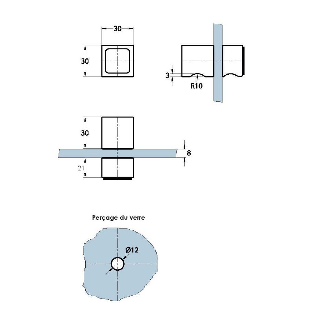 Double bouton carré 30 x 30 mm avec butée