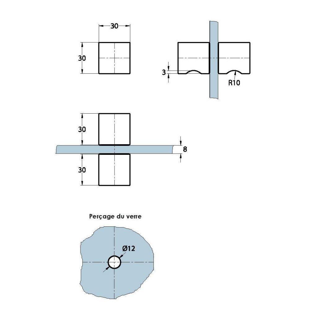 Double bouton carré 30 x 30 mm
