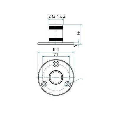 Embase manchon pour tube Ø42.4 x 2 mm - INOX 304