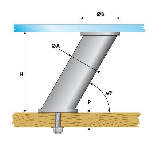 Entretoise inclinée collage UV - fixation traversante