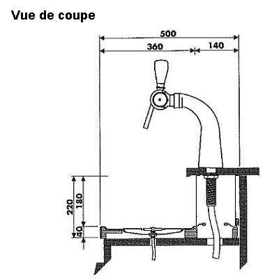 Evier + rince-verres + égouttoir 2000 x 500 mm