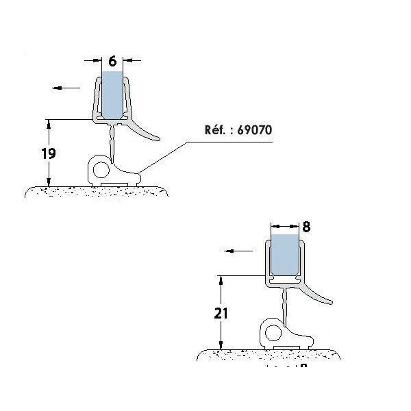 Joint à lèvre sur profil de seuil - Longueur 2010 mm - Ep verre 6-8 mm