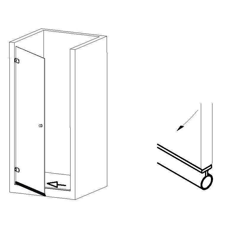 Joint bourrelet de seuil autocollant - longueur 2500 mm - Ep. verre 8 - 10 -12 mm