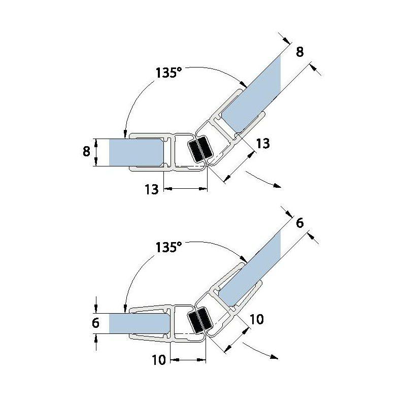 Joint d\'étanchéité magnétique 135° - 201 cm