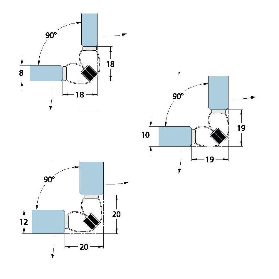 Joint d\'étanchéité magnétique à 90° autcollant - Longueur 2500 mm - Ep. verre 8-10-12 mm