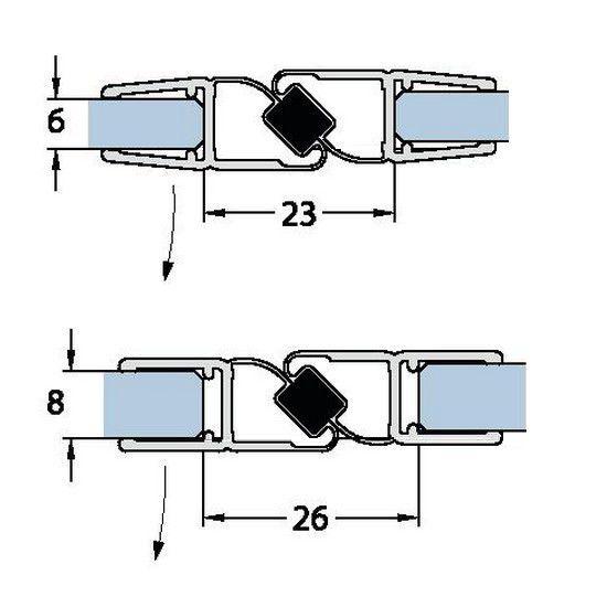 Joint magnétique 180° - Longueur 2010/2500 mm - Ep. verre 6-8 mm