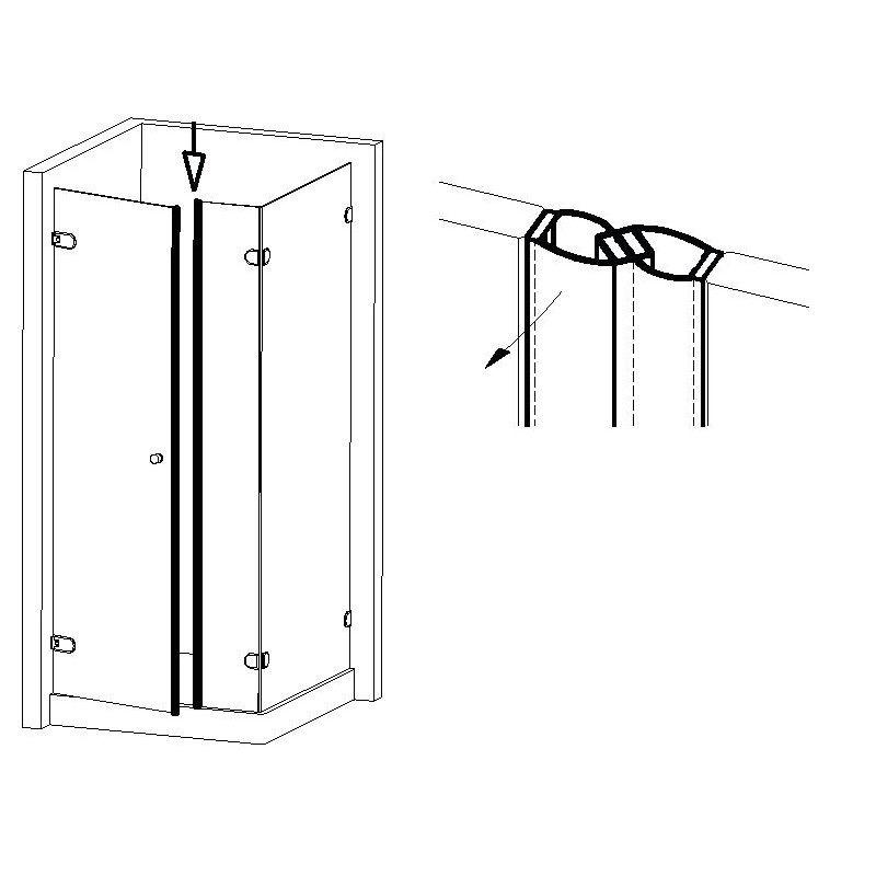 Joint magnétique 180° autocollant - Longueur 2500 mm - Ep. verre 8-10-12 mm