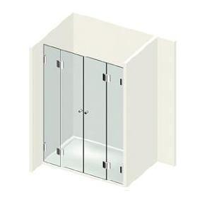 Kit 2 portes de douche sur paroi fixe droite/gauche